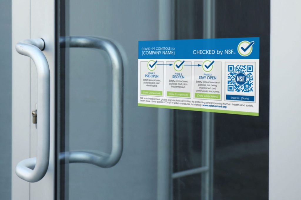 Checked by NSF™ programme sticker on glass door - Operating During COVID-19 Pandemic | NSF International