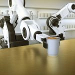 Robotic arm serves coffee in an innovative commercial kitchen
